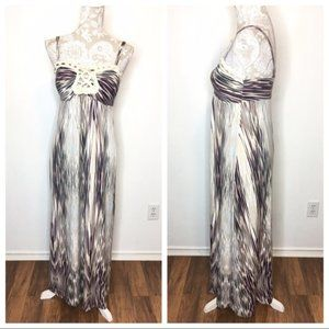Soma Maxi Dress Brown Tones abstract Print SM 185
